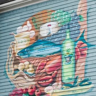 Фреска на стене, луненбург, новая шотландия, канада