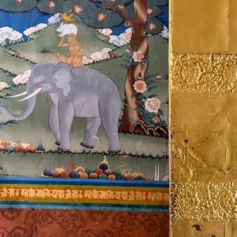 Mural on wall, punakha dzong, punakha, punakha valley, punakha district, bhutan