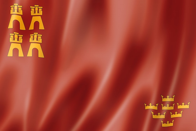 Murcia province flag, spain waving banner collection. 3d illustration