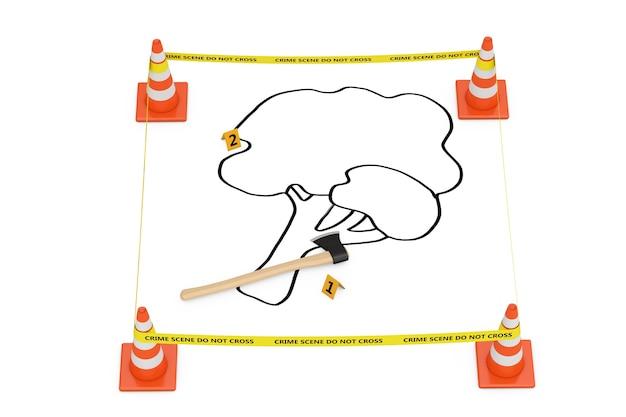 나무 개념의 살인. 노란색 테이프는 흰색 배경에 도로 원뿔, 죽은 나무의 윤곽, 도끼가 있는 경찰선을 넘지 않습니다. 3d 렌더링