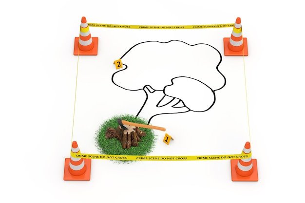 Murder of trees concept. yellow tape do not cross police line with road cones, outline of dead tree and stump with axe on a white background. 3d rendering