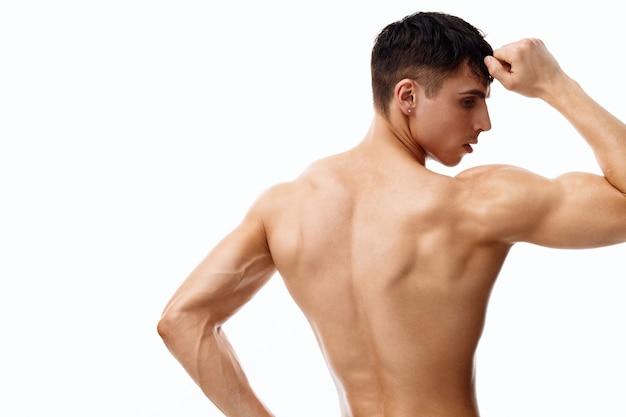 Muscle 사람 biceps bodybuilder fitness 벌거 벗은 torso 백 보기