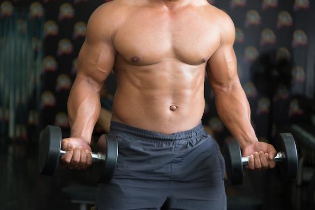 Мускулистые мужчины тренируются в тренажерном зале.