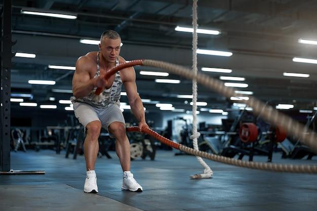 근육 운동 보디 빌딩 피트니스 모델 훈련 배틀 로프 체육관