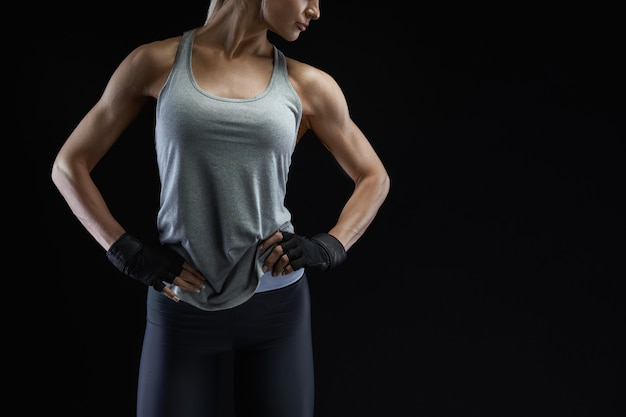 Muscular athletic female body