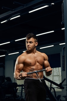 Muscular bodybuilder doing exercises on cable crossover machine in gym.strong athletic man shows body,abdominal muscles,biceps and triceps.work out,gaining weight,pumping up muscles.
