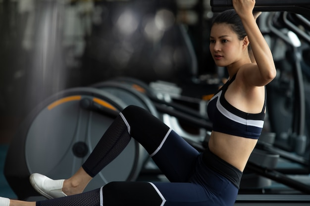 Muscular fitness woman exercises healthy lifestyle