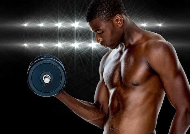 筋肉のグレーアスレチック輝くコピースペース