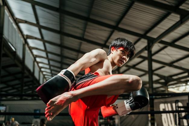 권투 장갑에 근육질의 남성 전투기는 권투 경기에 대한 권투 링에 무릎 킥을합니다