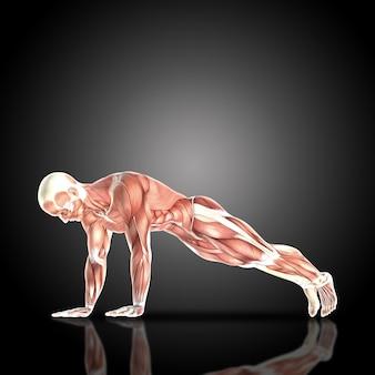 Muscular man doing pushup