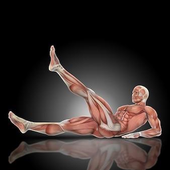 筋肉男は腹筋運動をやって