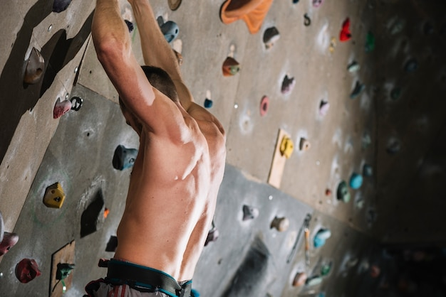 Muscular man hanging on climbing wall