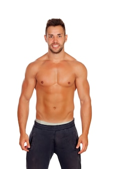 Muscular man isolated on white background