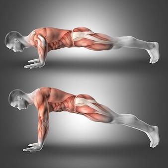 Muscular man oing pushups