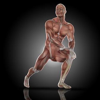 Muscular man stretching his leg