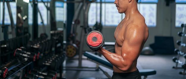 피트니스 체육관에서 보디 빌딩 운동을위한 운동복 체중 리프팅 바벨을 입고 근육 남자