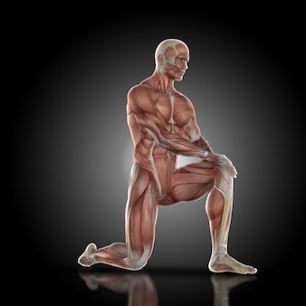 地面に膝と筋肉男