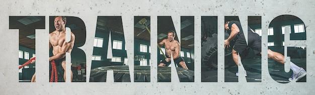 근육질의 젊은 남성 운동선수, 훈련이라는 큰 단어가 있는 창의적인 콜라주. 체육관에서 운동하는 백인 남자. 크로스핏, 피트니스, 모션, 스포츠, 보디 빌딩, 체중 감소의 개념.