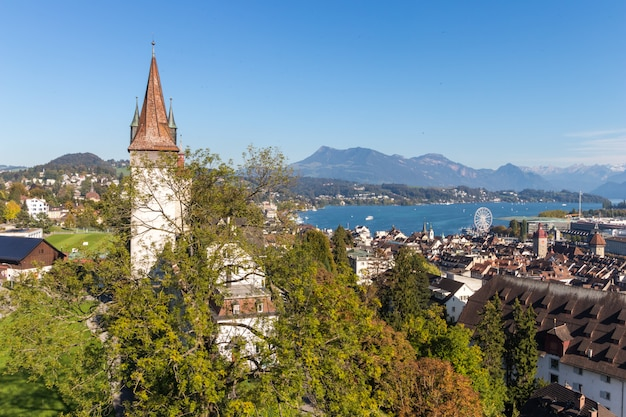 Musegg wall or museggmauer in luzern or lucerne, switzerland
