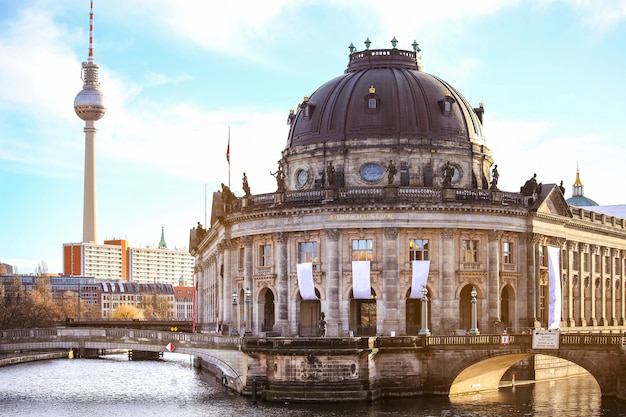 Museum island and tv tower on alexanderplatz, berlin, germany