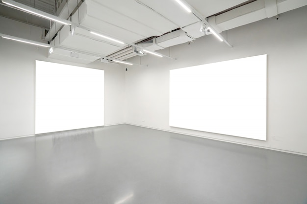 Museum of modern art.empty gallery interior space, white walls and grey floors