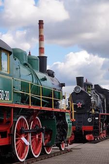 Museum steam locomotive-pipe in the railway transport museum in brest, belarus