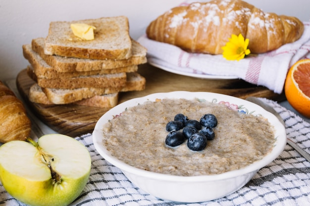 Mush with fruits and croissants