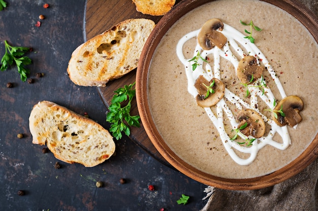 Mushroom cream soup. vegan food. dietary menu. top view. flat lat.