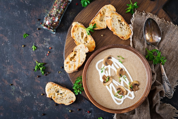 Mushroom cream soup. vegan food. dietary menu. top view. flat lat.