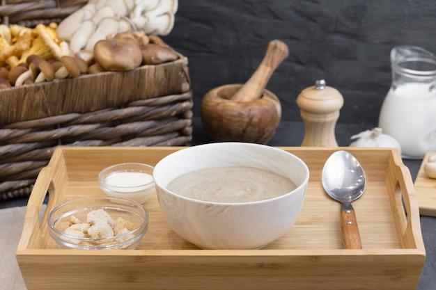 Mushroom cream soup with wild fungi
