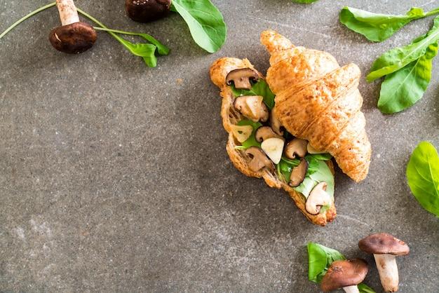 Mushroom croissant sandwich