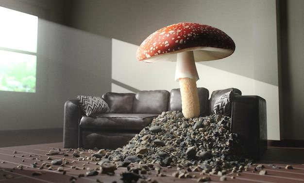 소파를 통해 성장하는 버섯