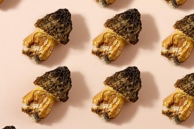キノコ柄。野生のモレル茸のシームレスな背景。ベジタリアンのコンセプトです。