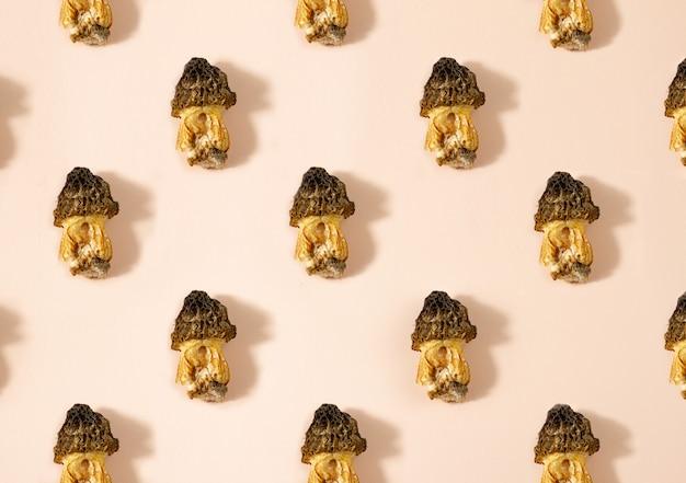 Mushroom pattern. seamless background of wild morel mushroom. vegetarian concept.