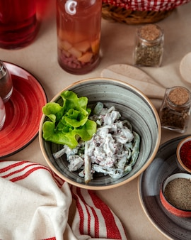 Mushroom salad  with sour cream  top view