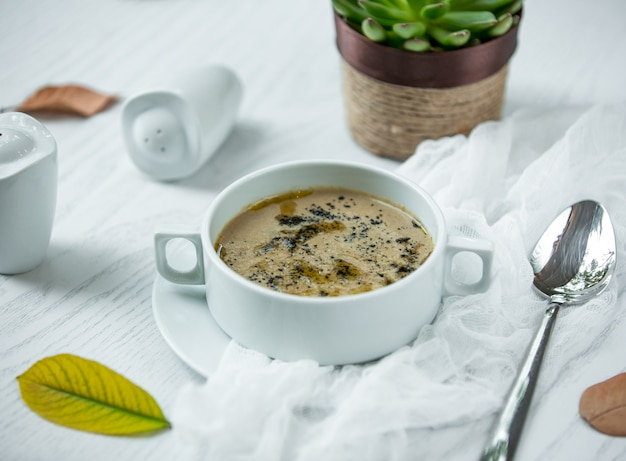 Mushroom soup on the table