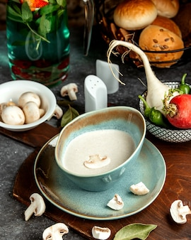 Mushroom soup with bread buns