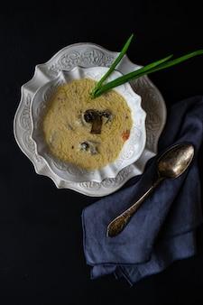 Mushroom soup with cream sour