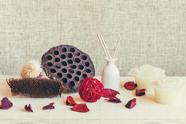 Mushroom, vase and candles