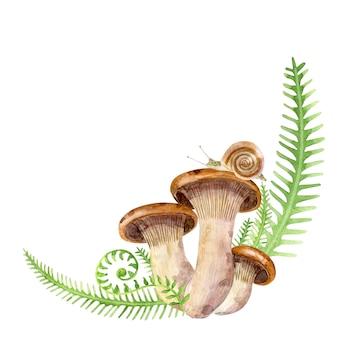 허브에 달팽이와 버섯
