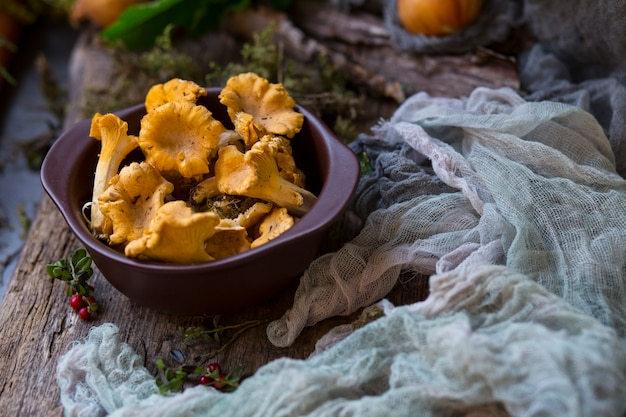 Mushrooms chanterelles in a clay plate close up and vegetables