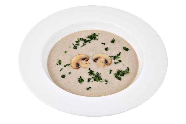 깊은 접시, 스튜디오 촬영, 흰색 배경에 고립에서 champignons와 버섯 크림 수프.