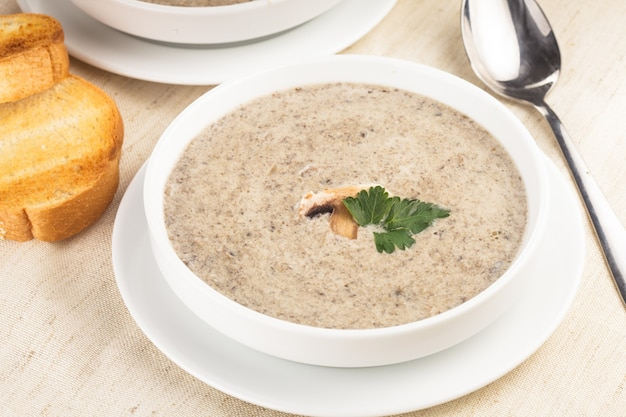 Mushrooms cream soup with croutons - dried white loaf