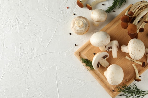 Mushrooms, dill, board and spices on white, space for text