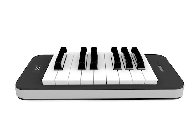 音楽アプリのコンセプト。白い背景の上の携帯電話上のピアノの鍵