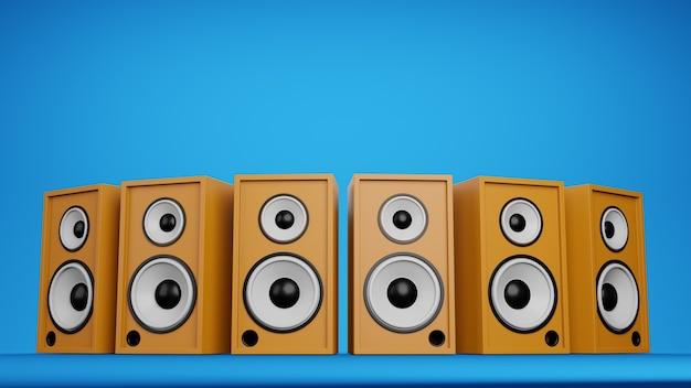 ミュージックアートコンセプトスピーカーシステム。ステージダークライトサイバーライトブルーとピンク、ワークスペースまたは背景アート。 3dレンダリング。