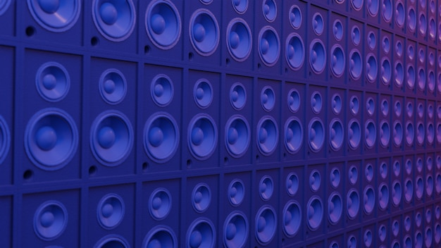 Акустическая система music art concept. сцена темный светлый кибер-голубой и розовый, рабочее пространство или фоновое искусство. 3d-рендеринг.