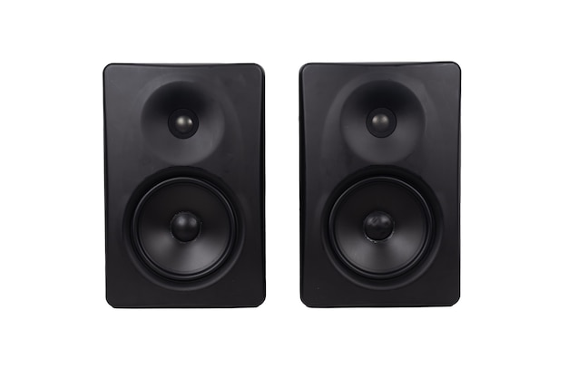Music audio speaker columns isolated on a white background