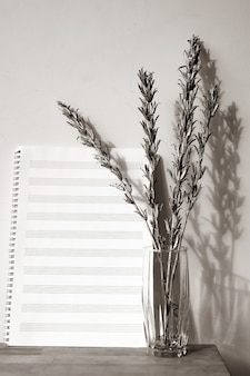 Music book and silver twigs in vase