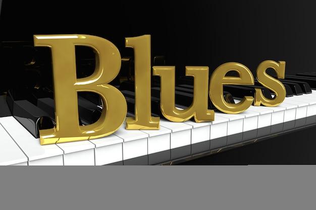音楽のコンセプト。金色のブルースのサインが付いた黒いピアノの鍵盤。